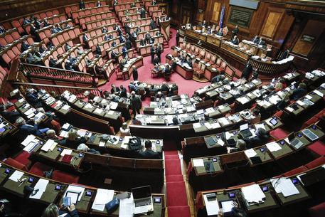Un momento nell'aula del Senato durante le dichiarazioni di voto sul Def, Roma, 27 Aprile 2016. ANSA/ GIUSEPPE LAMI